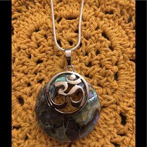 Jewelry - Natural Abalone Shell Yoga OM Chakra pendant